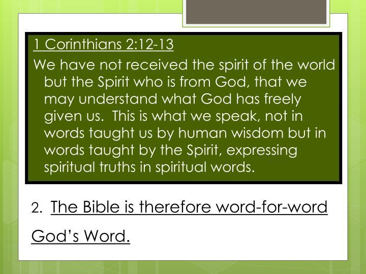 1 Corinthians 2:12-13