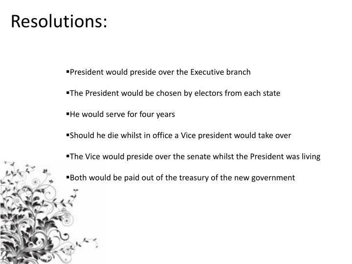Resolutions: