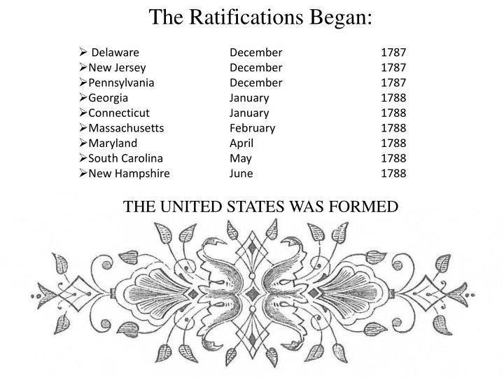 The Ratifications Began:
