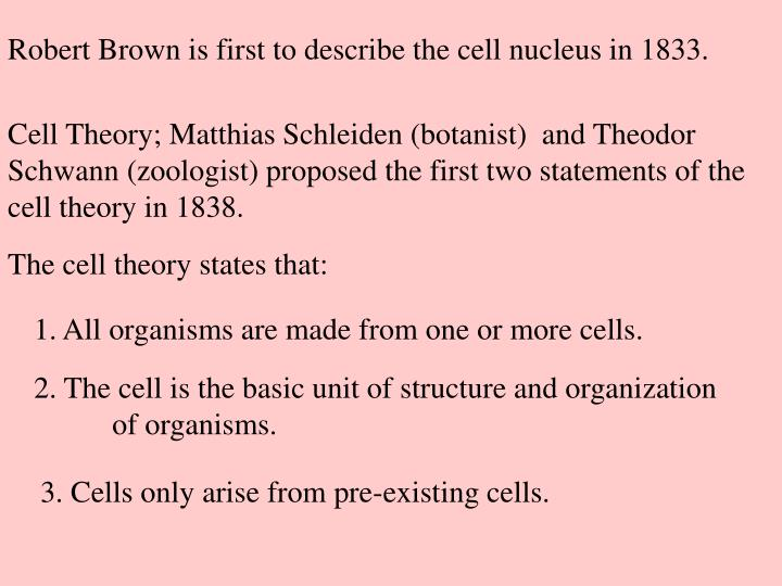 Robert Brown is first to describe the cell nucleus in 1833.
