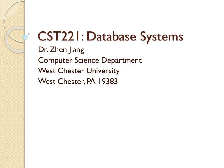 Cst221 database systems