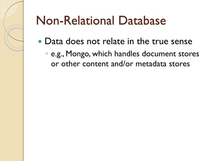 Non-Relational Database