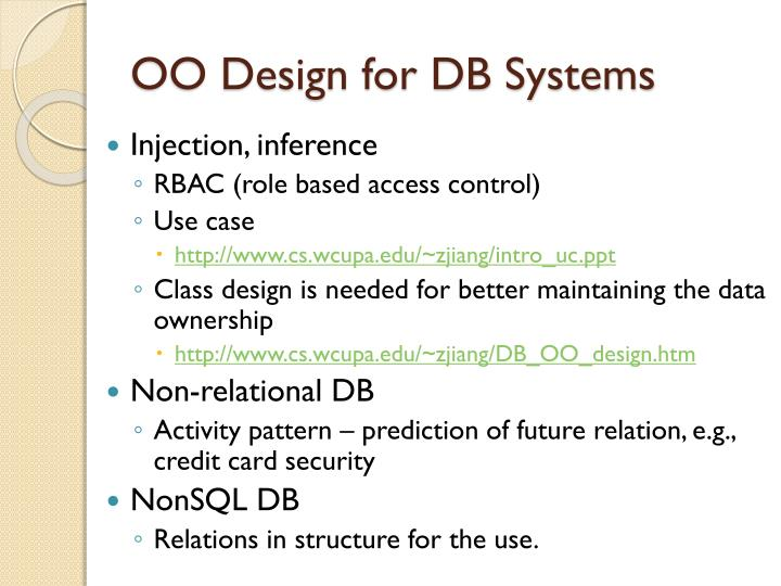 OO Design for DB Systems