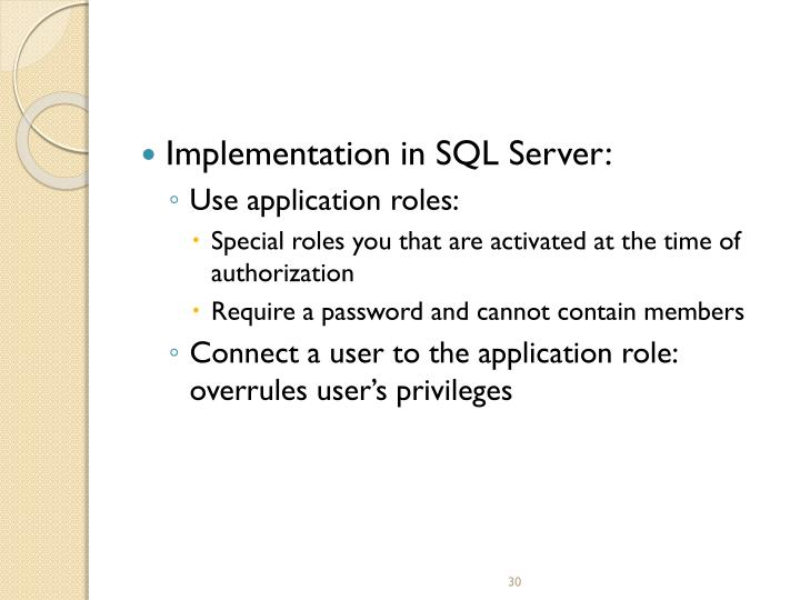 Implementation in SQL Server: