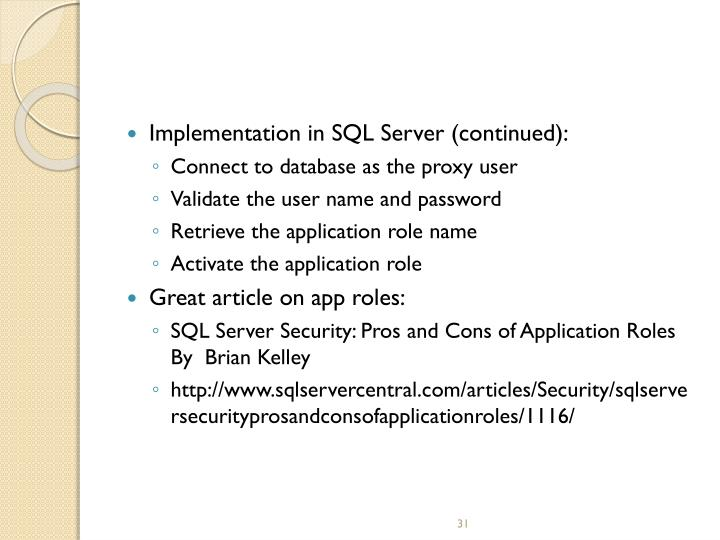 Implementation in SQL Server (continued):