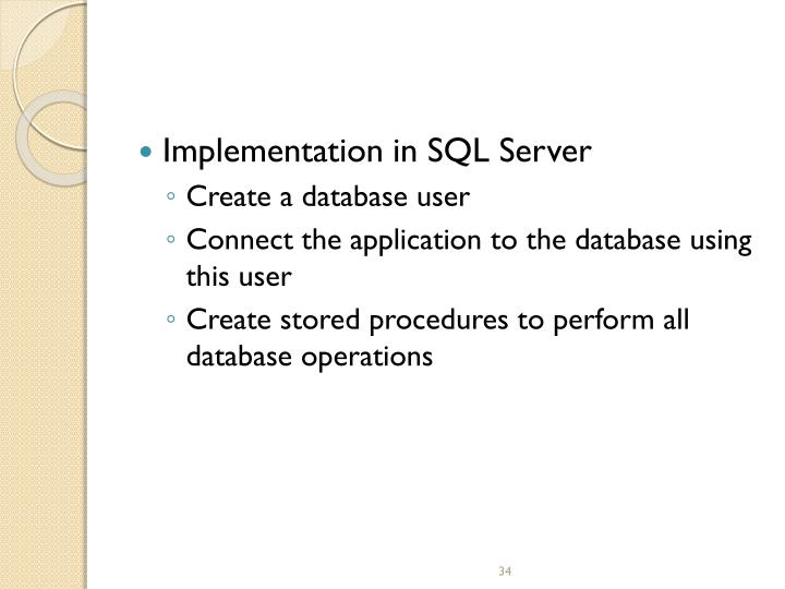 Implementation in SQL Server