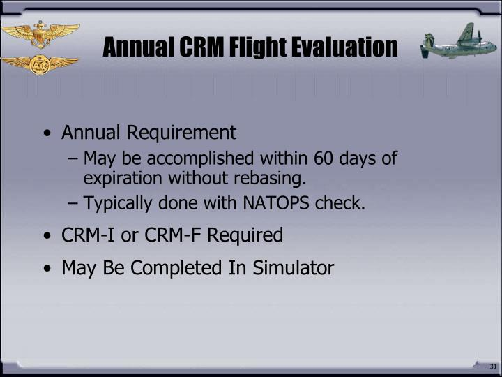 Annual CRM Flight Evaluation