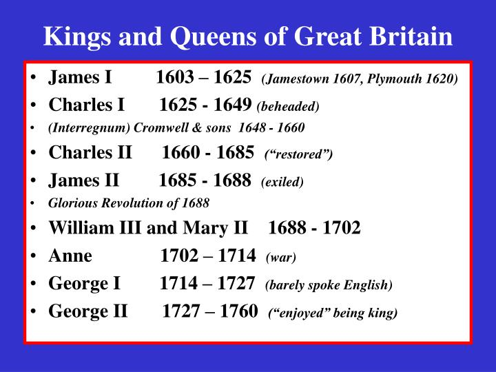 Kings and queens of great britain