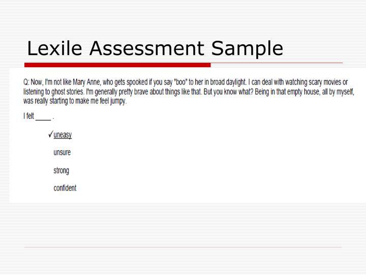 Lexile Assessment Sample