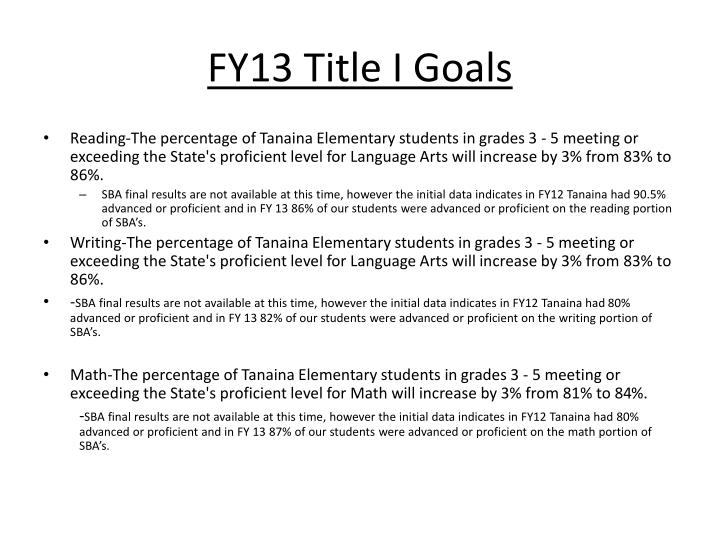 FY13 Title I Goals