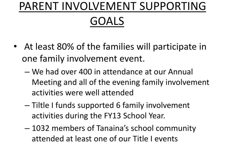 PARENT INVOLVEMENT SUPPORTING GOALS