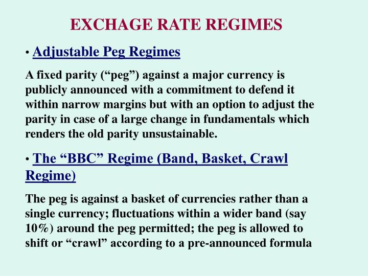 EXCHAGE RATE REGIMES