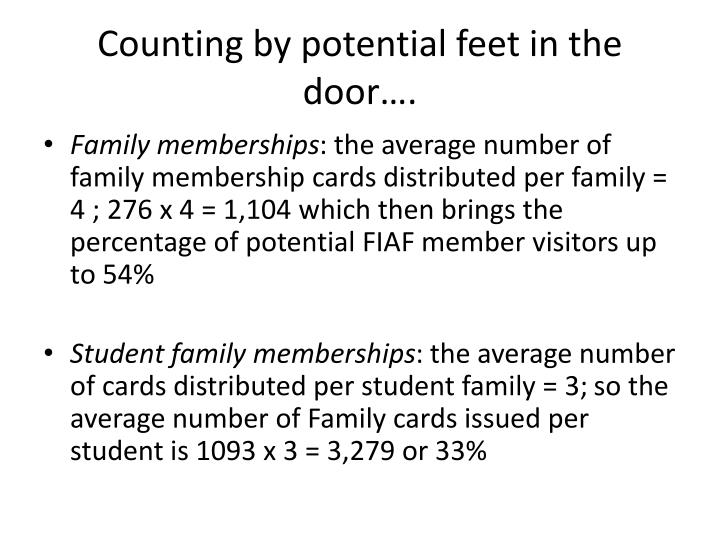 Counting by potential feet in the door….