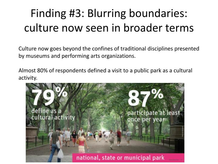 Finding #3: Blurring boundaries: culture now seen in broader terms