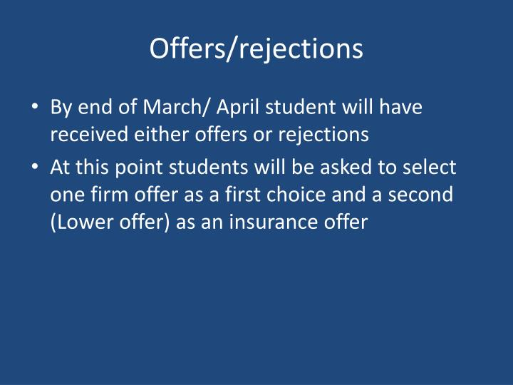 Offers/rejections