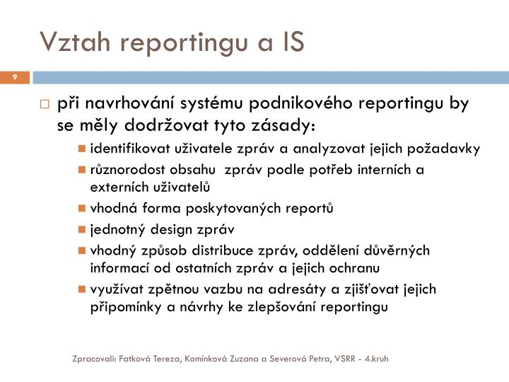 Vztah reportingu a IS