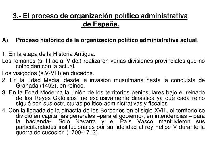 Proceso histórico de la organización político administrativa actual