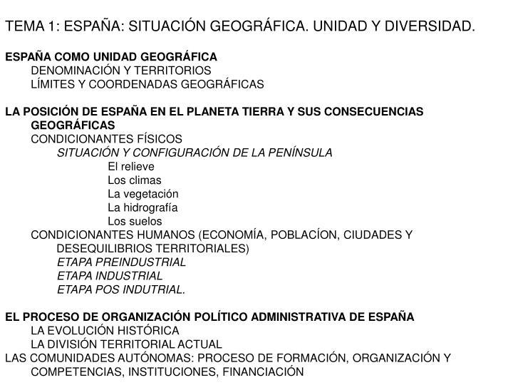 TEMA 1: ESPAÑA: SITUACIÓN GEOGRÁFICA. UNIDAD Y DIVERSIDAD.