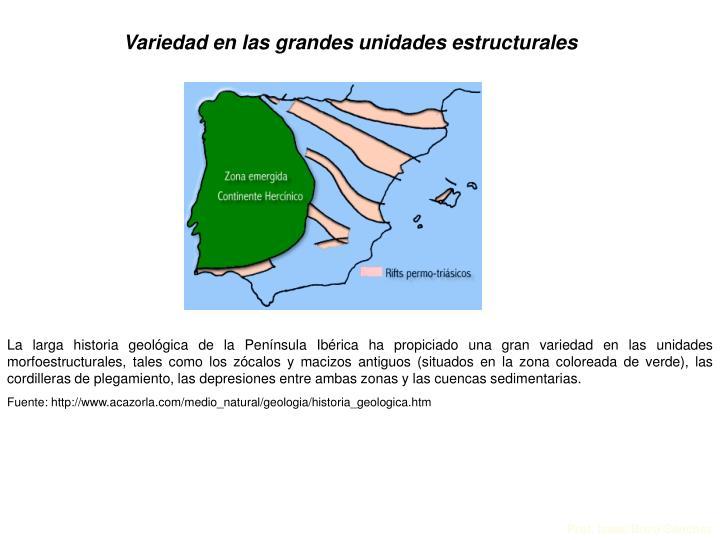 Variedad en las grandes unidades estructurales