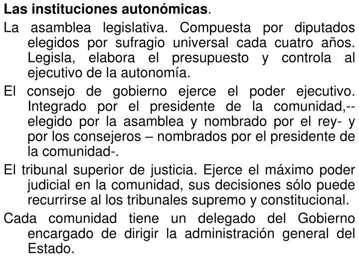 Las instituciones autonómicas