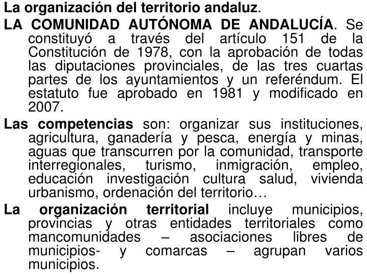 La organización del territorio andaluz