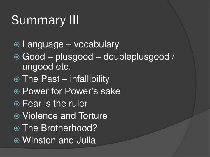Summary III