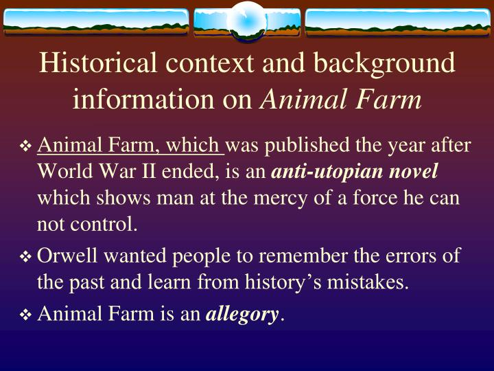 the transformation of a utopian society in animal farm a novel by george orwell Animal farm sparknotes  animal farm george orwell  an imaginary farm in england protagonist there is no clear central character in the novel animal farm.