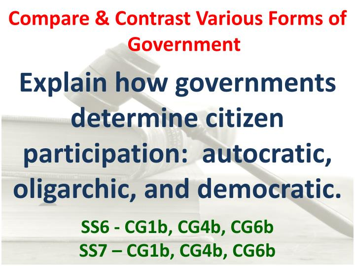 Compare & Contrast Various Forms of Government
