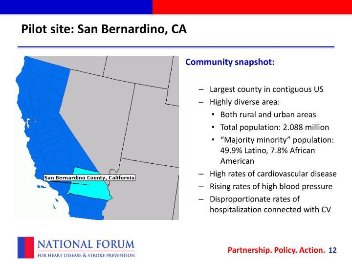 Pilot site: San Bernardino, CA