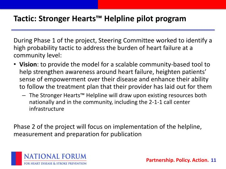 Tactic: Stronger Hearts™ Helpline pilot program
