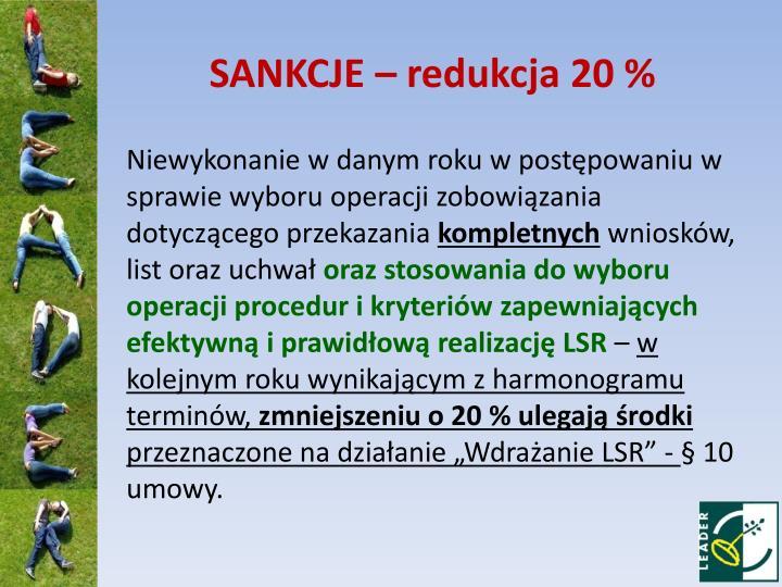SANKCJE – redukcja 20 %