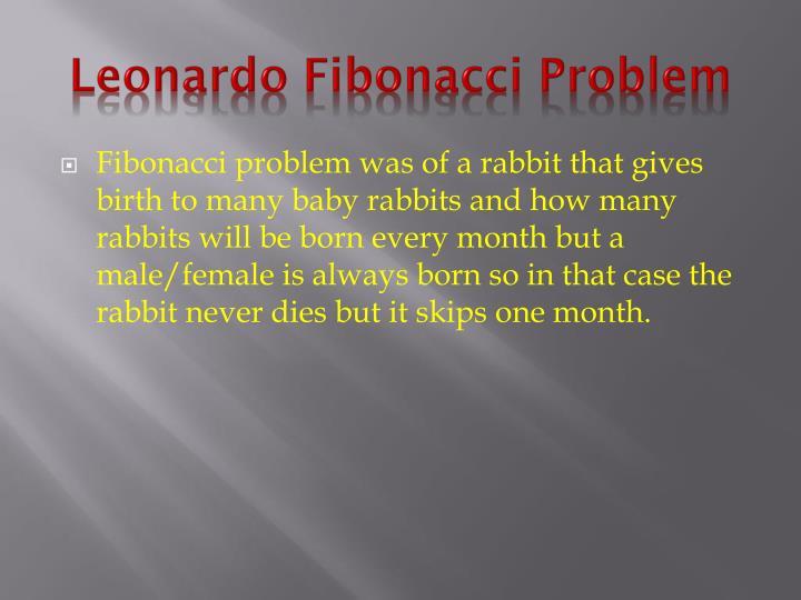 Leonardo Fibonacci Problem