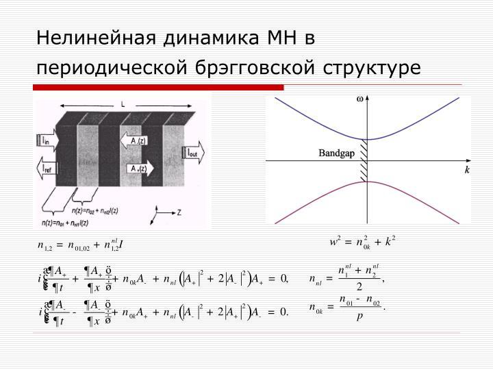 Нелинейная динамика МН в периодической брэгговской структуре