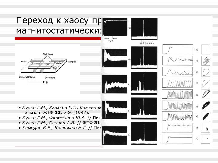 Переход к хаосу при МН магнитостатических волн в пленках ЖИГ