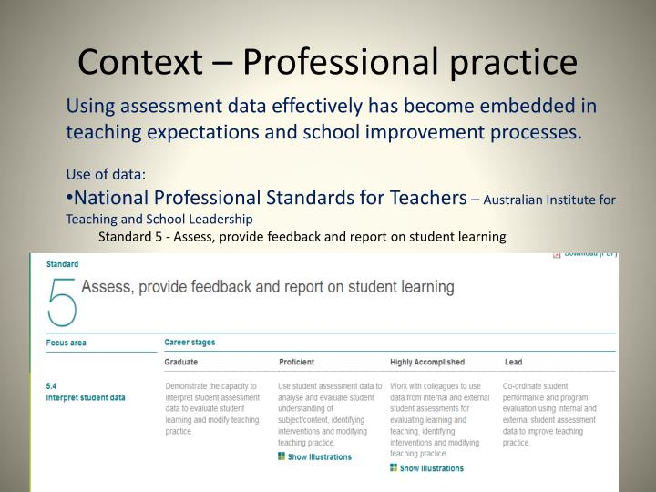 Context – Professional practice