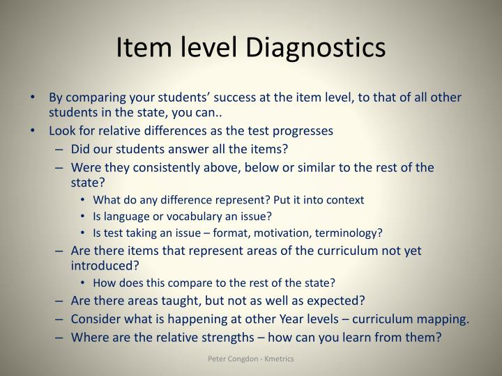 Item level Diagnostics