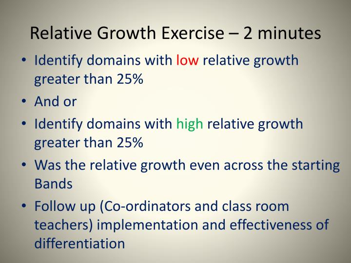 Relative Growth Exercise – 2 minutes