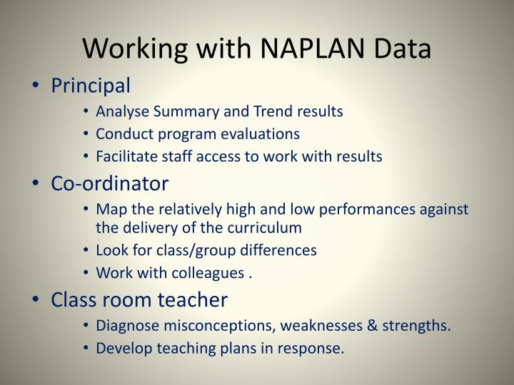 Working with NAPLAN Data