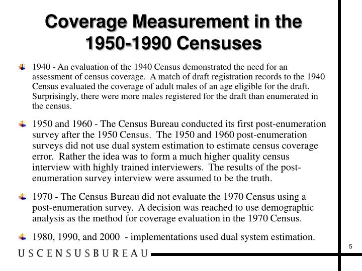 Coverage Measurement in the 1950-1990 Censuses
