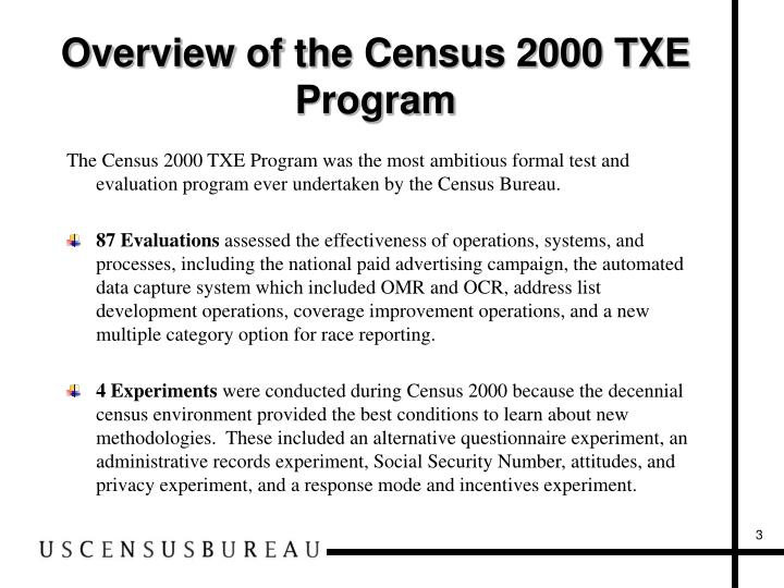Overview of the Census 2000 TXE Program