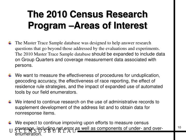 The 2010 Census Research Program
