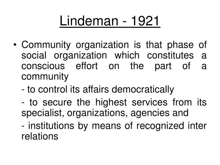 Lindeman - 1921