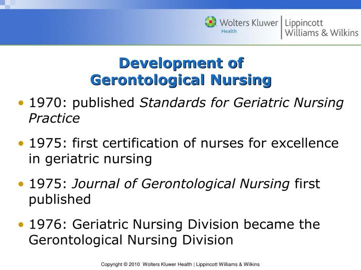 Development of gerontological nursing1