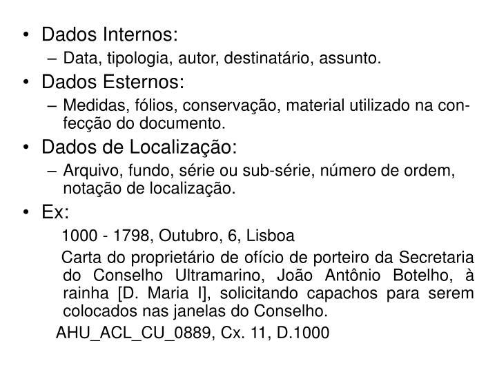 Dados Internos: