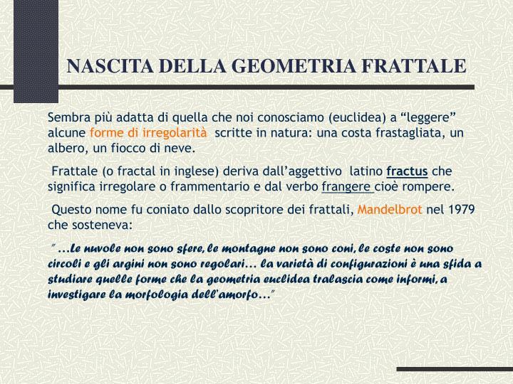NASCITA DELLA GEOMETRIA FRATTALE