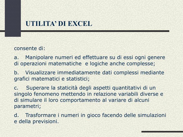 UTILITA' DI EXCEL
