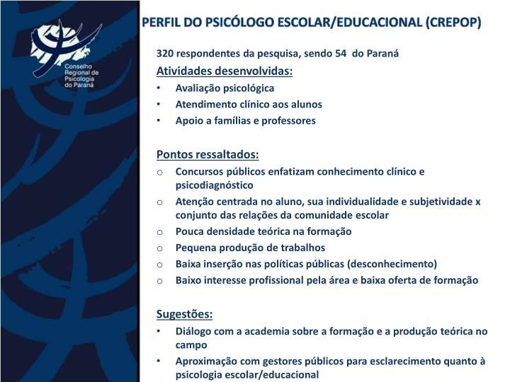 PERFIL DO PSICÓLOGO ESCOLAR/EDUCACIONAL (CREPOP)