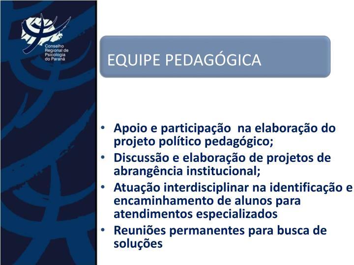 Apoio e participação  na elaboração do projeto político pedagógico;