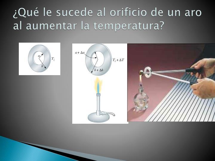 ¿Qué le sucede al orificio de un aro al aumentar la temperatura?