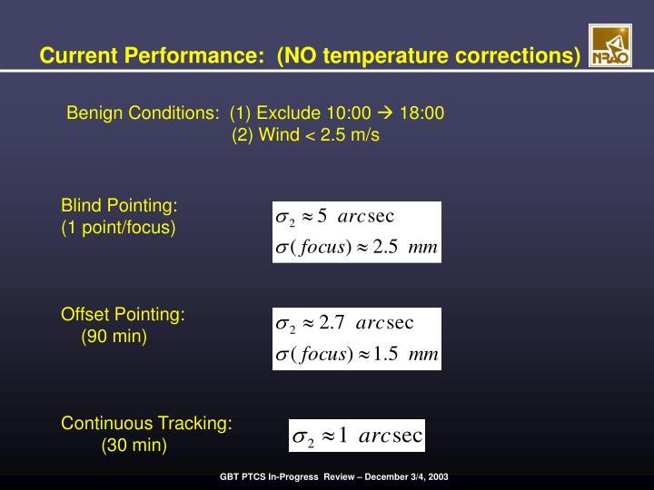 Current Performance:  (NO temperature corrections)